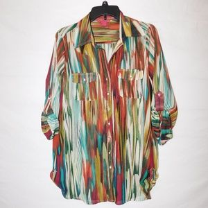 Sunny Leigh Fall Colors Rhinestone Button Blouse M